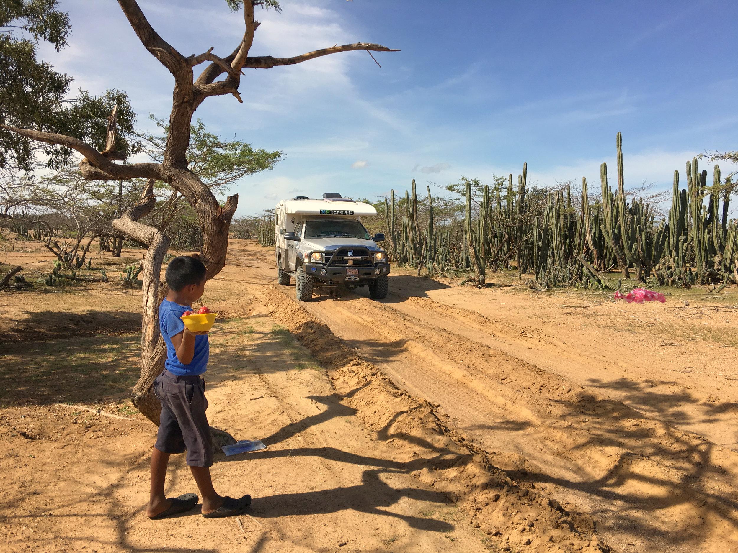 A child's roadblock in La Guijara