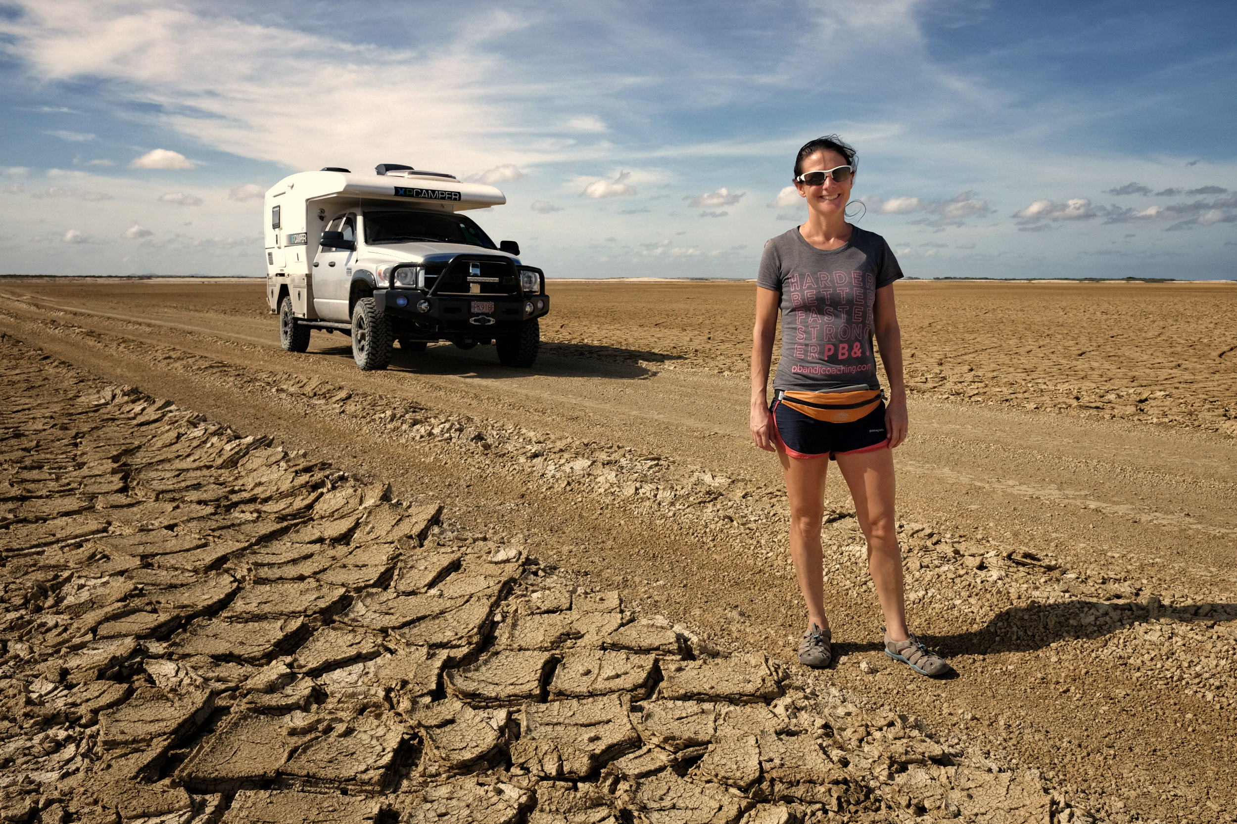 Clair, the camper and Cracked earth in La Guijara